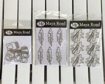 Maya Road Metal Vintage Trinket Mason Jar, Feather or Hashtag, Clips, 6 pcs, scrapbooks, cards, paper crafts,  planners, art journaling
