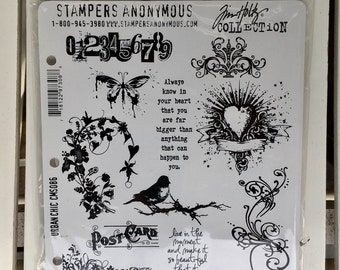Stampers Anonymous stamp set by Tim Holtz, Urban Chic, CMS086, cling stamp set of 11 stamps, for art journaling, card making, mixed media