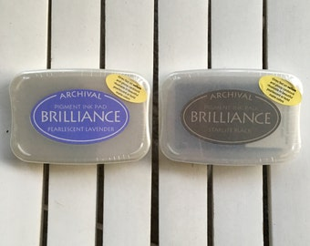 Brilliance Archival Pigment Ink Pad by Tsukineko, in Pearlescent Lavender or Starlite Black, for scrapbooking, card making and mixed media