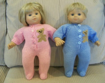 """90) Bitty BabyTwins Knit Footed Pajamas Bear Bitty Boy or Girl Twins 15""""Doll Knit Hand Made Dolls Doll Clothes Toys Duck Sailboat Penguin"""