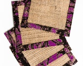 Set of 4 Burlap coasters ...