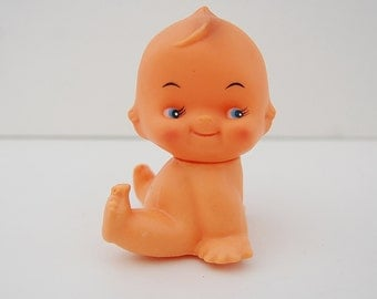 Vintage Kewpie Doll, Sitting Kewpie with Butterfly on Toe and Turning Head