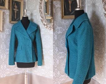 Vintage Women's 1960's Blue Jewel Tone Cropped Winter Coat Medium