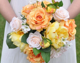Wedding Bouquet, Bridal Bouquet, Yellow Peony and Orange Rose Bouquet with Peach Roses and White Daisies Silk Flower Bouquet.