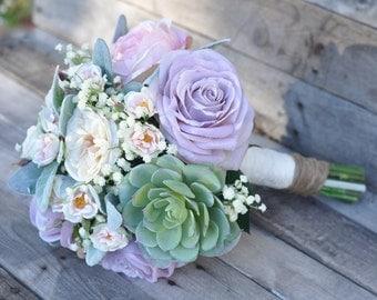 Silk Wedding Bouquet, Bride Bouquet, Lavender Rose and Pink Cabbage Roses, Succulents, Baby Breath silk flower bouquet.