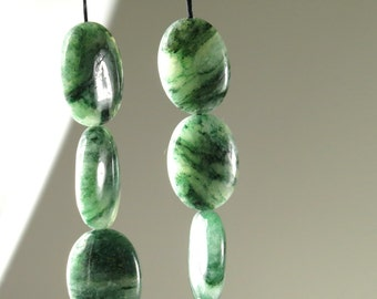 Lovely African Jade Small Oval Beads - 16mm x 12mm x 6mm - 8 Pieces - B4499