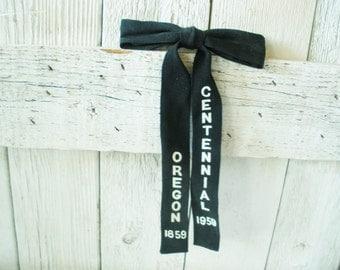 Vintage bow tie cowboy black clip on Oregon Centennial 1959