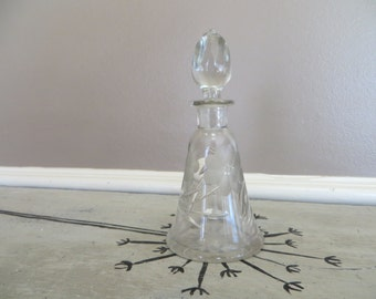 Perfume Bottle Cologne Bottle Cut Crystal Bottle Glass Dresser Bottle Etched Bottle Antique Perfume Bottle