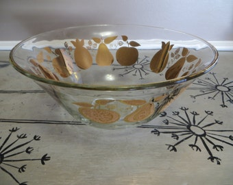 Culver Glasses 22k Pineapple Pear Apple Bowl Serving Bowl Ornate Bowl Fuit Bowl Culver Gold Fruit Design