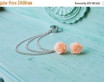 VALENTINES DAY SALE Blush Rose Spring Bloom Silver Triple Chain Cartilage Earring Ear Cuff (Pair)