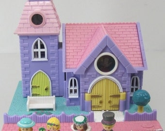 1993 Vintage Polly Pocket Complete Wedding Chapel Pollyville Bluebird Toys (38407)