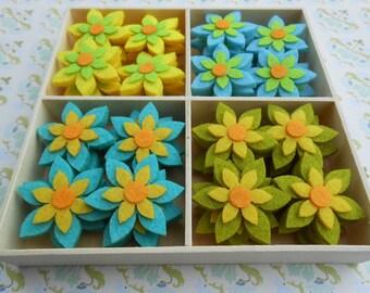 Felt Flowers Applique Assorted 48 pcs Box