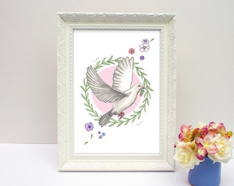 Peace Dove ~ Colomen heddwch, A4 illustrated print