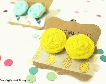 Yellow Rosette Earrings, Yellow Earrings, Yellow Studs,Rosette Yellow Earrings,Clip on Earrings,Fabric Jewelry,Fabric Earrings,Summer Trends