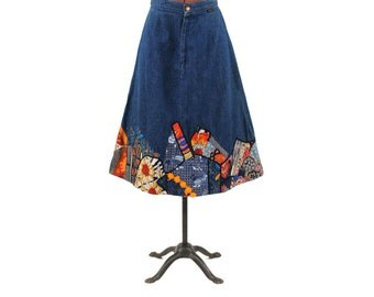Vintage 1970's Wrangler Dark Blue All Cotton Denim High Waist Boot Length Pathcwork Hippie A-line Skirt M