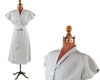 Vintage 1950's Sheer Crisp Pale Blue Cotton  Rockabilly Two Piece Dolman Blouse + Skirt Dress Set XS