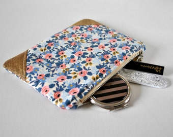 Woman's floral glitter linen corner padded beauty pouch protective vintage style flower linen make up bag cosmetics pouch.