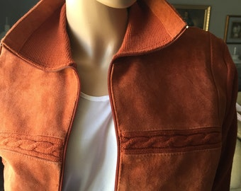 Vintage Rusty Suede Sweater Jacket 1970's Brewster Casual Winter Sweater