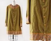 1950s Velvet and Lamé Coat / Green Velvet Coat / Paisley Coat / Medium Large