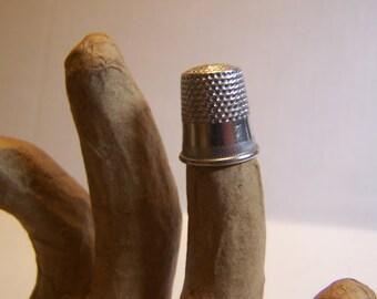 Vintage Size 7 Silver Tone Brass Thimble