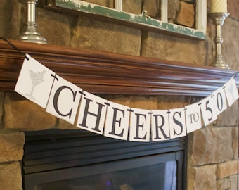Cheers to 50 Banner, 50th birthday party decorations, 40th birthday banner, 30th birthday banner