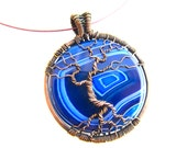 "Tree of Life Round Pendant  - Incredible Blue Striped Onyx Agate Cabochon and Oxidized Copper Wire - 1.75"" x 3"" - Chain Included"