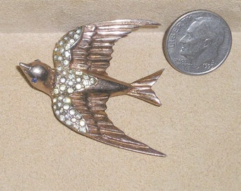 Vintage Signed Sterling Coro-Craft Heavenly Swallow Fur Clip With Clear Rhinestones 1940's Jewelry 2111