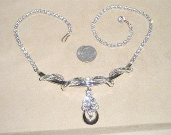 Vintage Rhinestone Baguette Pendant Dangle Necklace 1940's Jewelry 3012