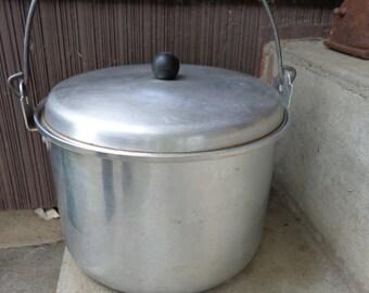 Vintage Aluminum VIKO Stock Pot with Bail Handle & Lid