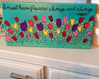 Original Folk Art painting whimsical tulips