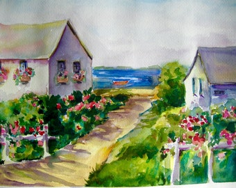 Watercolor Print Cape Cod Summer Cottages Watercolor Painting Ocean Sea Shore CarlottasArt