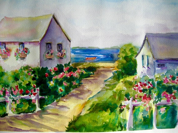 Watercolor Print Cape Cod Summer Cottages Painting
