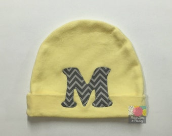 Yellow Baby Beanie Hat, Personalized Baby Hat, Newborn Hat, Baby Cap, Personalized Hat, Baby Shower Gift, Grey and Yellow Baby, Chevron Baby