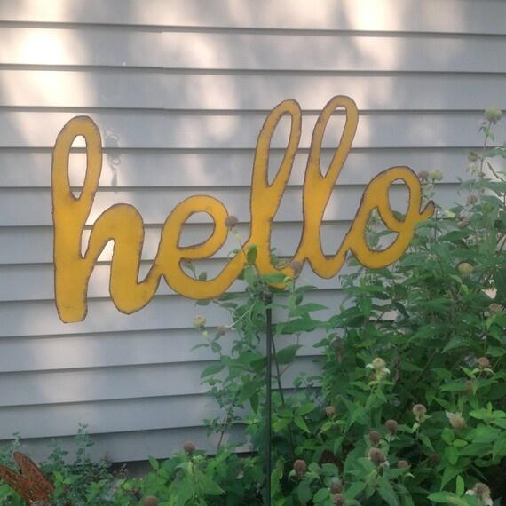 Hello Sign Word Art Wall Art Hello Yard Stake Metal Hello