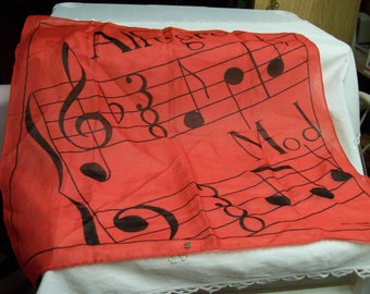 Vintage Musical Scarf Red Allegro Mod Jean Claude de luca Paris Ideal Gift Music Lovers Teachers Scarf with Musical Notes Scale Treble Clef