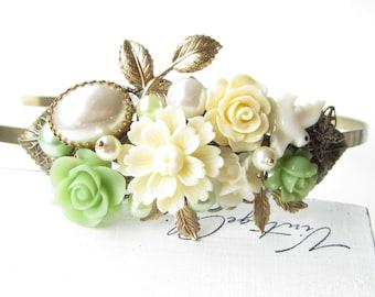 Haarreif,hair band,head band,Wedding,Bridal Headband,green Blush Hairband, Floral Head Piece, Romantic Flower, Bohemian, Woodland Chic