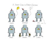 A Short Guide to Robot Emotions- A4 robot art print by Jon Turner- geeky robotics artwork