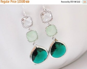 SALE Green Earrings, Emerald Earrings, Mint Earrings, Clear, Silver Earrings, Glass, Bridesmaid Jewelry, Bridesmaid Earrings, Bridesmaid Gif