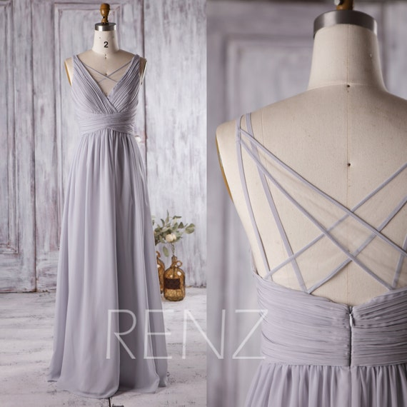 2017 light grey bridesmaid dress long v neck wedding dress for Light grey wedding dress