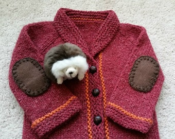 Baby Sweater Cardigan - Shawl Collar Baby Sweater - Hand Knit Infant Sweater - Sophisticated Baby, Little Professor Sweater With Elbow Patch