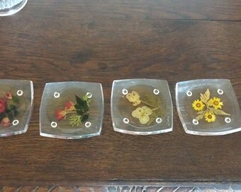 Acrylic Coasters with Pressed Flowers