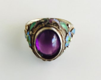 Beautiful vintage Chinese Amethyst Cloisonne ring