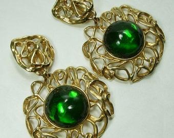 1980s Yves Saint Laurent Huge Earrings Green Poured Resin Goossens Design