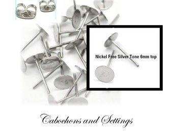 50 Earring Stud Posts 6mm Glue  Pad & Clutch Hypo-allergenic  - AUSTRALIA