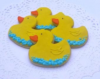 Little Rubber Duck Cookies - Baby Shower Cookies - 1 Dozen Mini Cookies
