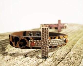 Animal Print Cross bracelet, Boho Jewelry, Stackable bracelet, Christian leather bracelet. Hand stamped Cross Bracelet, Gift for her