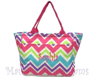 Personalized Canvas Chevron Insulated Lunch Tote-Multi Color With Pink Trim Design Lunch Box - Monogram FREE