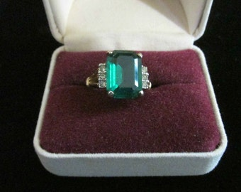 Joseph Esposito Ring, Emerald Stone, Made in the USA, Marked 14K ES Espo, Statement Jewelry, Women Accessories, Gift