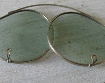 Spring Metal Glasses, Tinted Lens, Round Clear Glasses, Attachable Lens, Vintage  Collectible