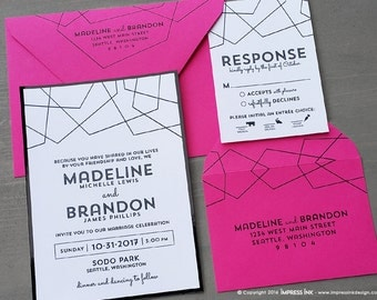 Fragment Modern Lines Wedding Invitation Sample | Flat or Pocket Fold Style